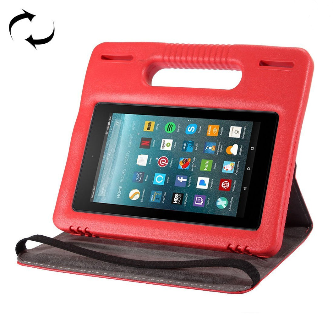 360° Rotation Leather Case Bumper Cover with Handle & Holder For Amazon Kindle Fire 7 2015 2017 -Red