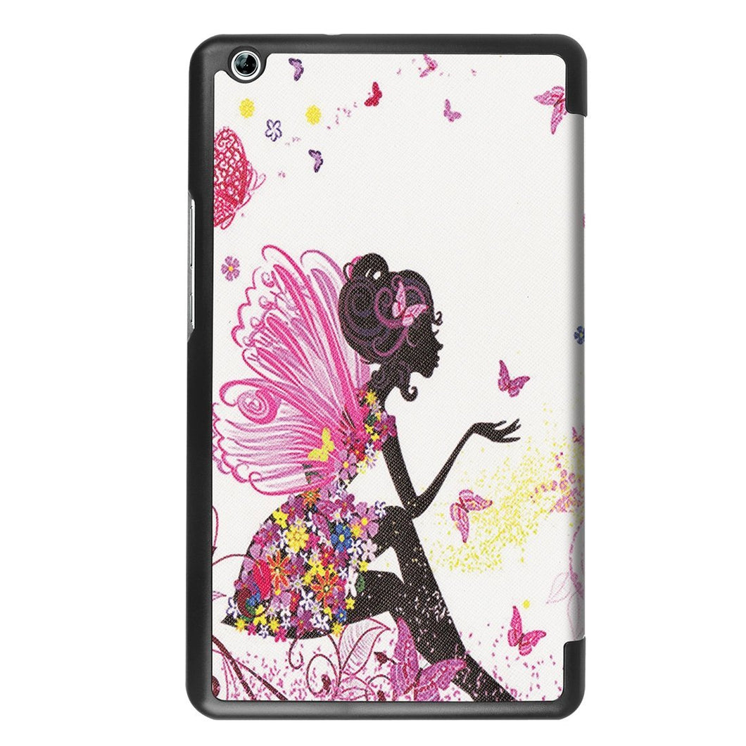 AMZER Butterfly Fairy Flip Leather Sleep/Wake-up Case 3-fold Holder For Huawei MediaPad M3 Lite 8.0