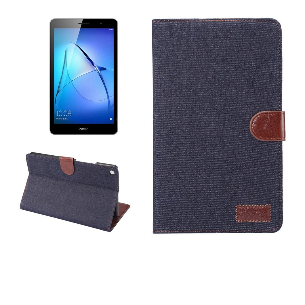 AMZER Denim Texture Flip Leather Case with Holder & Card Slot For Huawei MediaPad T3 8.0 - Dark Blue