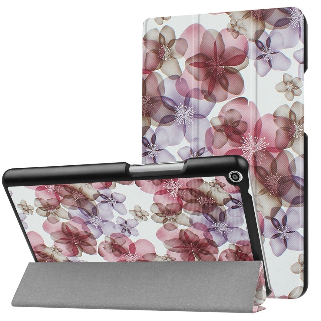 Colorful Painted Flower Horizontal Flip Leather Case with 3-Fold Holder For Huawei MediaPad T3 8.0