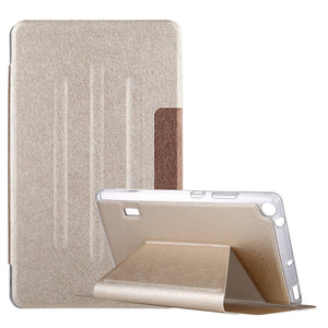 AMZER Silk Texture Horizontal Flip Leather Case with Holder (Gold) For Huawei MediaPad T3 7 - Gold