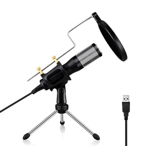 USB Drive-free Condenser Microphone with Tripod Holder, Compatible with PC / Mac for Live Broadcast Show, KTV, etc.(Black)
