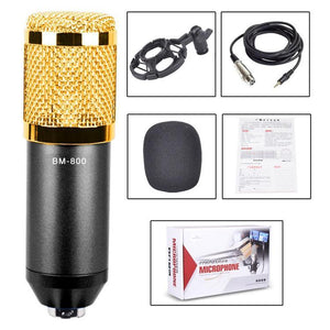 3.5mm Studio Recording Wired Condenser Sound Microphone with Shock Mount, Compatible with PC / Mac for Live Broadcast Show, KTV, etc.(Black)