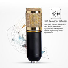 Load image into Gallery viewer, 3.5mm Studio Recording Wired Condenser Sound Microphone with Shock Mount, Compatible with PC / Mac for Live Broadcast Show, KTV, etc.(Black)