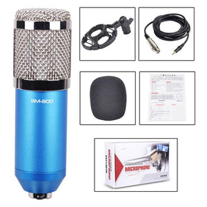 3.5mm Studio Recording Wired Condenser Sound Microphone with Shock Mount, Compatible with PC / Mac for Live Broadcast Show, KTV, etc.(Blue)