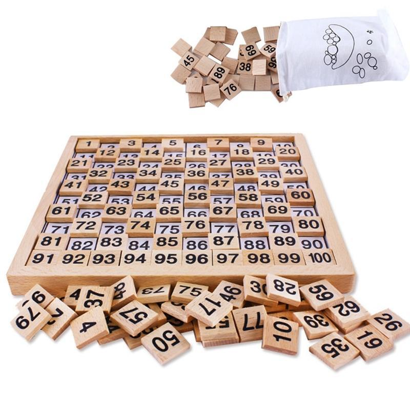Wooden Montessori Teaching Aids Math 1 - 100 Consecutive Numbers Counting Board Plate Toy