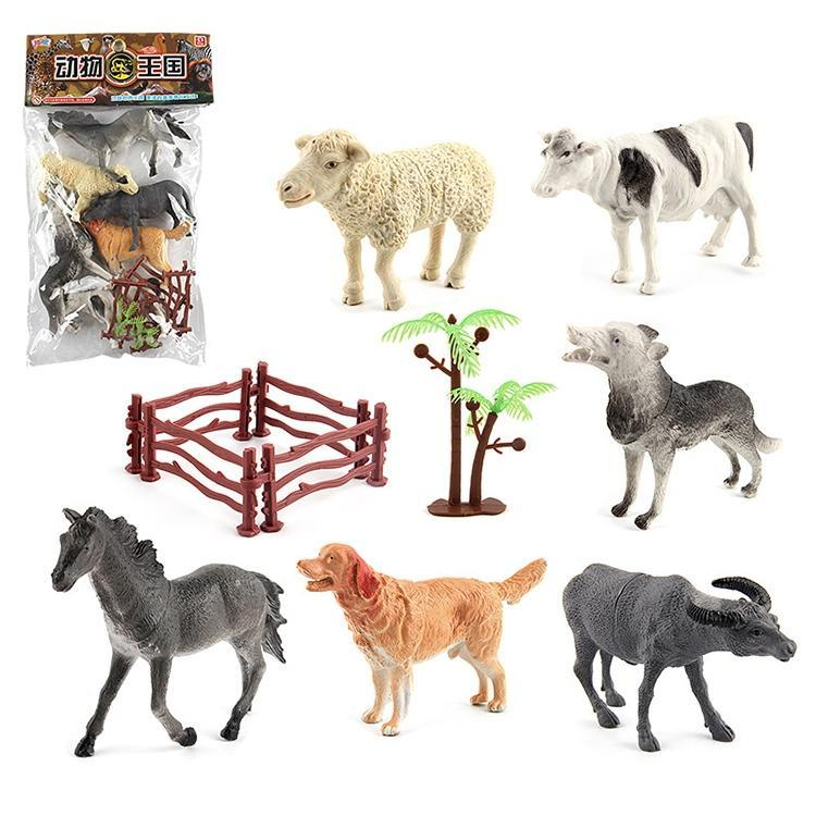 6 in 1 Cute Animal Kingdom Decoration Toys Set with Fences