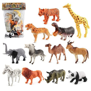 12 in 1 Cute Animal Kingdom Decoration Toys Set
