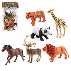 6 in 1 Cute Animal Kingdom Decoration Toys Set