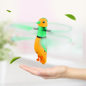 USB Charging Induction Flying Parrot Singing Bird Flying Toy with LED Flashing Light, Age Range: 8 Years Old Above, Without Remote Control(Orange)