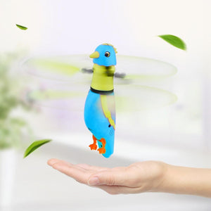 USB Charging Induction Flying Parrot Singing Bird Flying Toy with LED Flashing Light, Age Range: 8 Years Old Above, Without Remote Control(Blue)