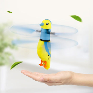 USB Charging Induction Flying Parrot Singing Bird Flying Toy with LED Flashing Light,  Without Remote Control(Yellow)