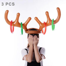 Load image into Gallery viewer, 3 PCS Inflatable Reindeer Antler Cute Deer Head Child Throw Ring Games Toy