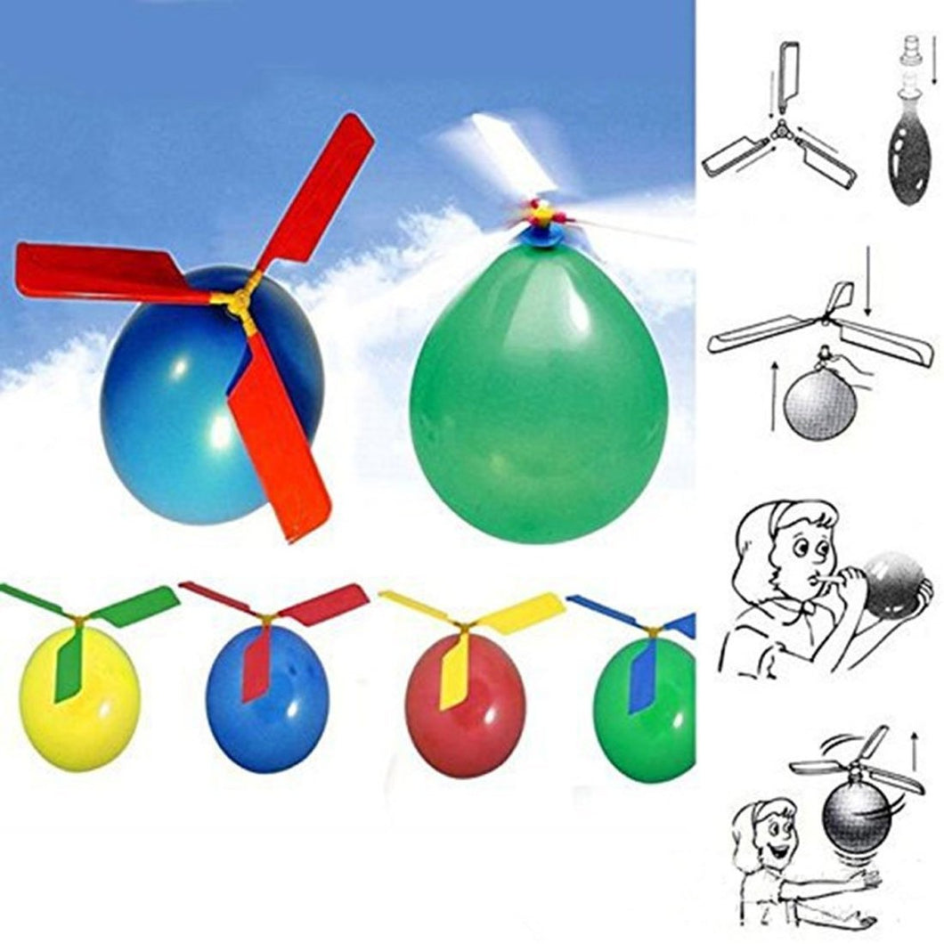 5 PCS Three Screw Propeller Balloons Aircraft Helicopter Balloons  Flying Balloon Kids Toys,Random Color Delivery