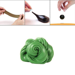 DIY Plasticine Slime Magnetic Rubber Mud Stress Reducer Anti-Anxiety Bouncing Putty Magic Clay Education Toy for Kids and Adults, Big Iron Box Size: 8x2.5cm(Green)