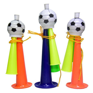 20 PCS European Cup World Cup Football Game Props Horn 3 Tones Football Horn Children Toy with Lanyard, Length: 19cm, Random Color Delivery