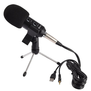 2.5m Home KTV Handheld Mic Universal Sound Recording Microphone with Tripod Stand, Compatible with PC and Mac for Live Broadcast, Show, KTV, etc