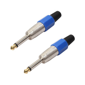 2 PCS 6.35 Gold-plating Mono Microphone Audio Plug