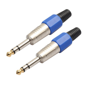 2 PCS 6.35mm Gold-plating Audio Plug Stereo Microphone Cord Plug
