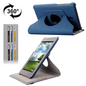 AMZER 360° Rotation Denim Flip Leather Holder Case & Card Slots For Asus Fonepad 7/ ME372CG - Blue