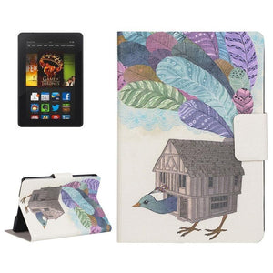 AMZER Creative Bird House Drawing Flip Leather Case Holder Card Slots For Amazon Kindle Paperwhite 2