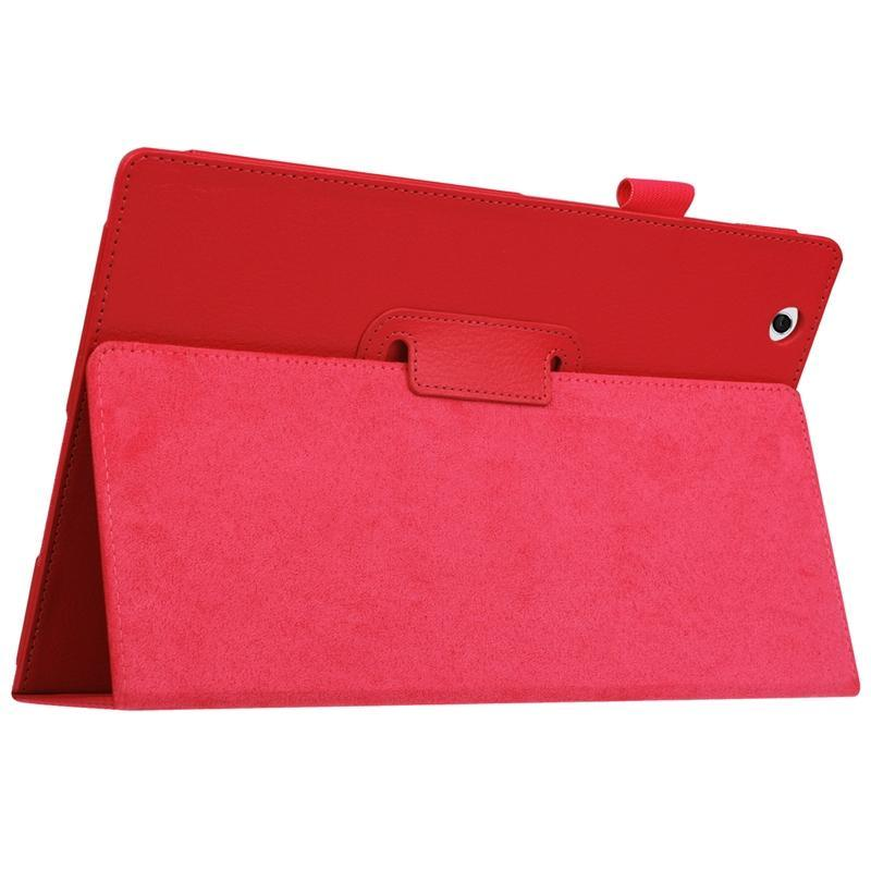 AMZER Texture Horizontal Flip Solid Color Leather Case with Holder For Sony Xperia Z4 - Red