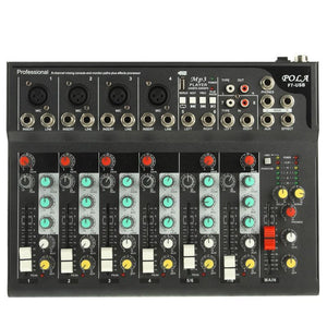 7 Channels Professional Mixing Console and Aux Paths Plus Effects Processor
