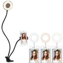Load image into Gallery viewer, Clip Style Universal Cell Phone Holder Bracket Selfie Ring Light with 3-Color Light Adjustment, for Studio Recording, Live Broadcast, Live Show, KTV, etc.(Black)