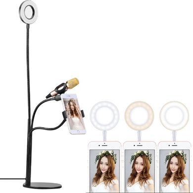 Universal Cell Phone Holder Bracket Selfie Ring Light with Microphone Clip & 3-Color Light Adjustment, for Studio Recording, Live Broadcast, Live Show, KTV, etc.(Black)