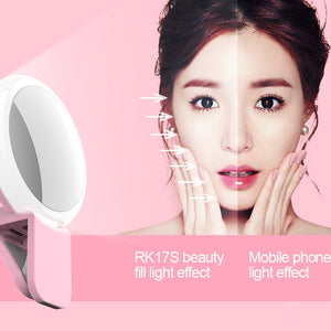 3 Levels of Brightness Cold + Warm + Mixed Light Mini Cosmetic Mirror / Beauty Fill Light with 20 LED Light, For iPhone, Galaxy, Huawei, Xiaomi, LG, HTC and Other Smart Phones(Pink)