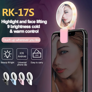 3 Levels of Brightness Cold + Warm + Mixed Light Mini Cosmetic Mirror / Beauty Fill Light with 20 LED Light, For iPhone, Galaxy, Huawei, Xiaomi, LG, HTC and Other Smart Phones(Blue)