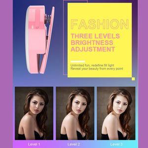 3 Levels of Brightness 33-Led Beauty Moisturizing Mist Selfie Clip Fill Light, For iPhone, Galaxy, Huawei, Xiaomi, LG, HTC and Other Smart Phones(Black)