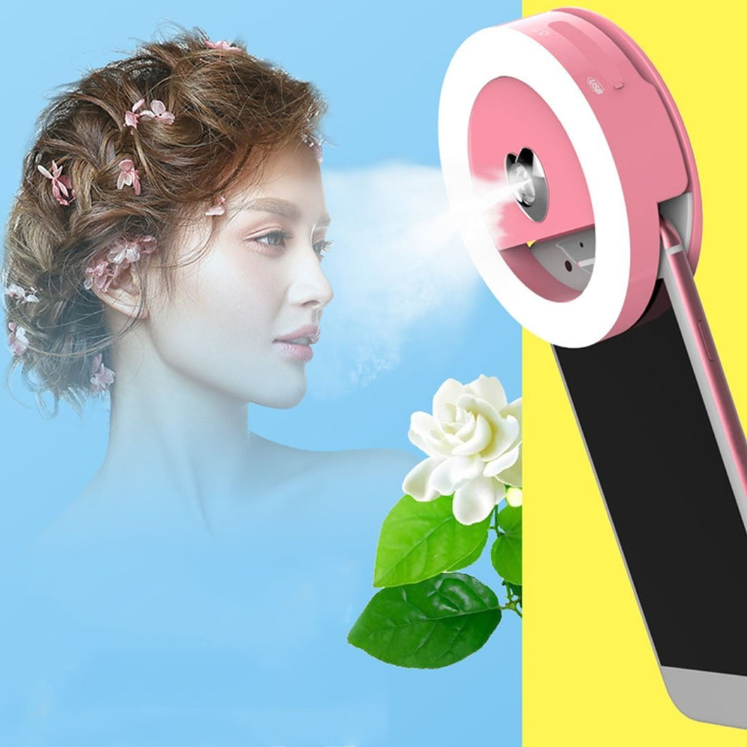 3 Levels of Brightness 33-Led Beauty Moisturizing Mist Selfie Clip Fill Light, For iPhone, Galaxy, Huawei, Xiaomi, LG, HTC and Other Smart Phones(Pink)