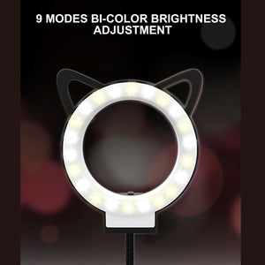 3 in 1 Selfie Ring Light with Cell Phone & Microphone Holder Stand for Live Stream, With 3-Light Mode, 9-Level Brightness, for iPhone / Android(Black)