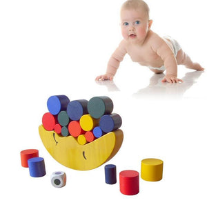 Wooden Moon Shape Balancing Building Blocks Toy Baby Early Learning Balance Training Toy