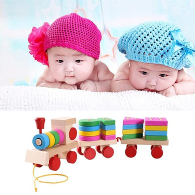 Wooden Train Shape Building Blocks Toy Baby Early Learning Training Toy