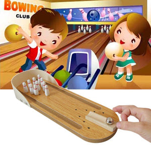 Tabletop Classic Desk Ball Toy Wooden Mini Bowling Game for Children and Adult, Size: 29.5 x 10cm