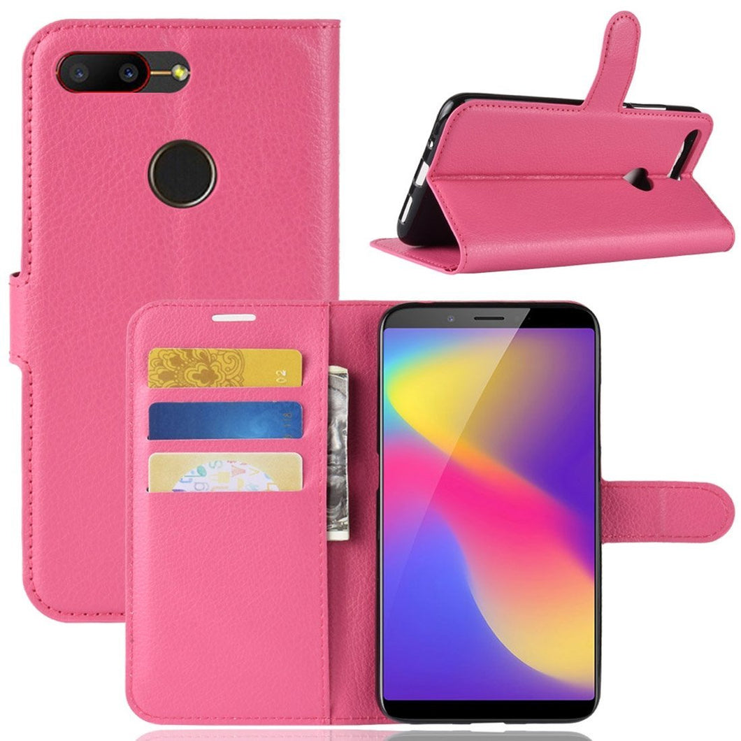 AMZER Texture Flip Leather Case with Wallet & Holder & Card Slots For ZTE Nubia V18 & N3 - Rose Red