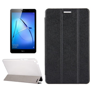"AMZER Silk Texture Horizontal Flip Leather Case with 3-fold Holder For Huawei MediaPad T3 8"" - Black"