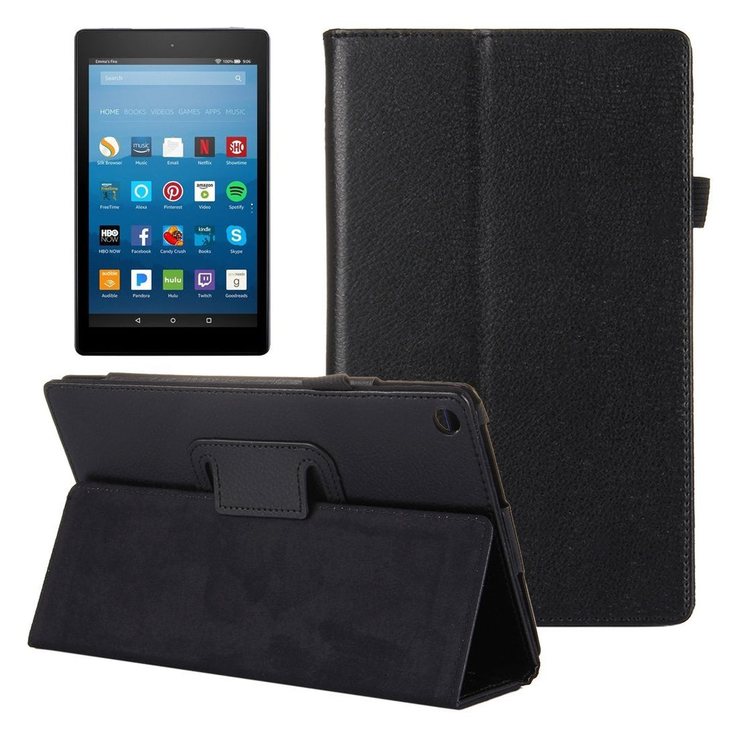 AMZER Texture Horizontal Flip Leather Case with Holder For Amazon Kindle Fire HD8 2017 - Black