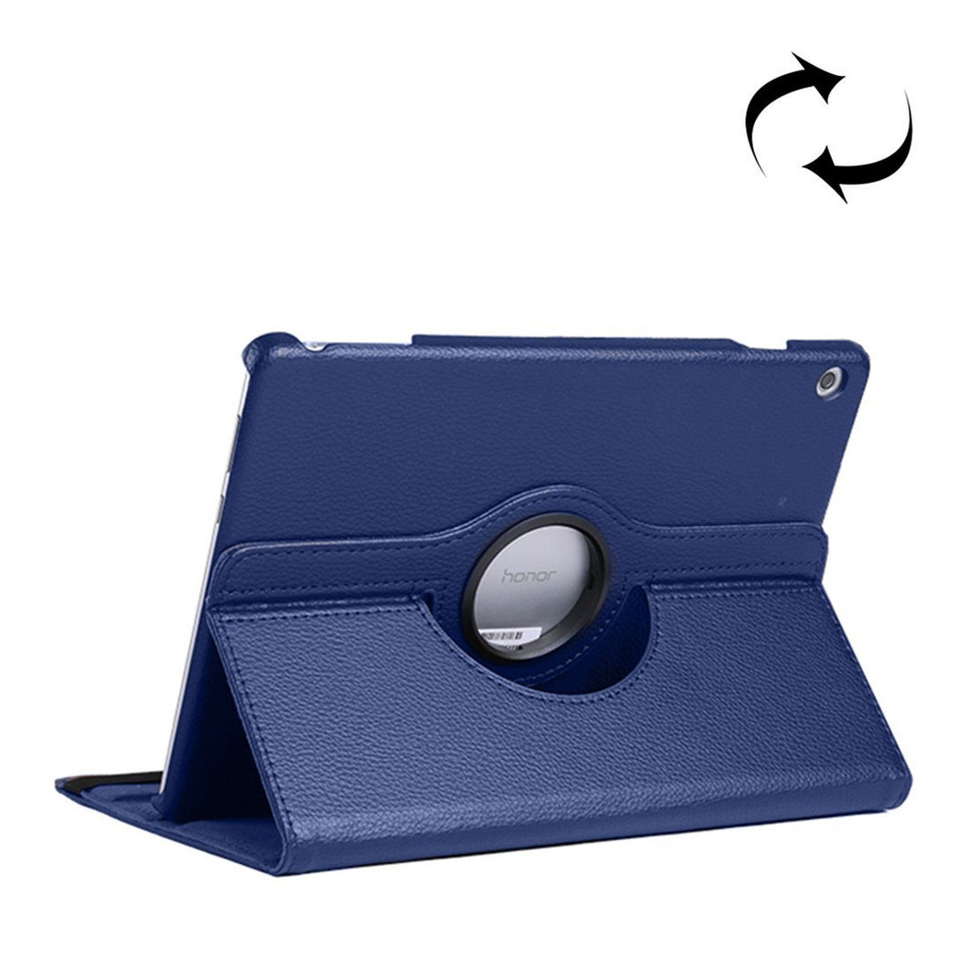 AMZER Texture Flip 360° Rotation Leather Case with Holder For Huawei MediaPad T5 10.1 - Dark Blue