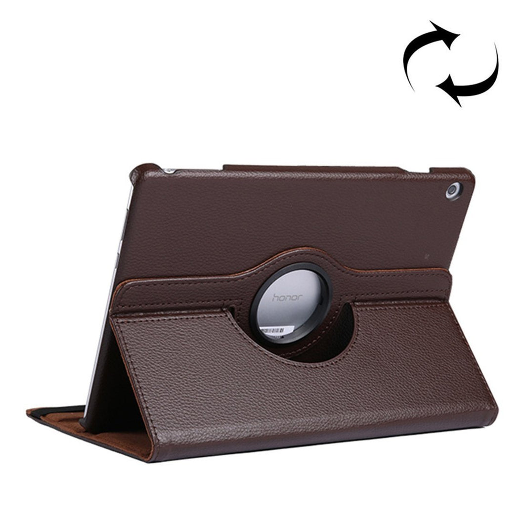 AMZER Texture Flip 360° Rotation Leather Case with Holder For Huawei MediaPad T5 10.1 - Brown