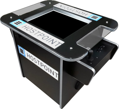 hostpoint tabletop arcade cabinet with graphics