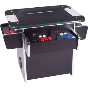 black gt tabletop with red and blue buttons