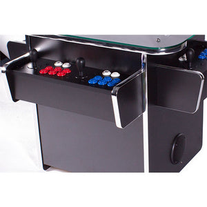 gtx black arcade machine with red and blue buttons
