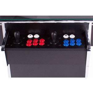 black 3-sided tabletop cabinet with red and blue buttons