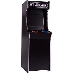 GTX stand-up arcade machine with red and blue buttons