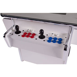 gt white sit-at arcade cabinet with red buttons