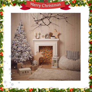 5x5FT Christmas Fireplace Theme Photography Backdrop Studio Prop Background Photographic Backdrops Props For Photo Studio