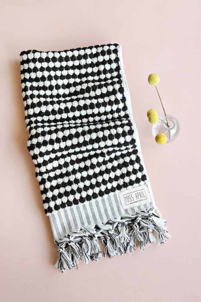 Pom Pom Hand Towel - Black and White - Project Ten